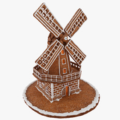 Gingerbread mill with backlight