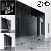 Swinging pendulum glass doors for office and home _ corona - vray
