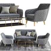 Sillon and sofa retro tela gris patas madera