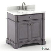 "30 ""single sink wooden vanity with Alpine Mist top"