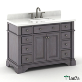 "48 ""single sink wooden vanity with Alpine Mist top"