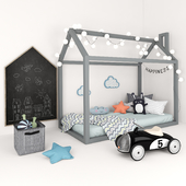 Bed-house with a set of accessories for children