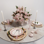 Table setting with roses/Сервировка стола с розами