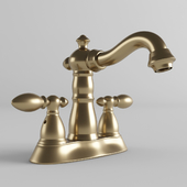 Victorian 4 in. Centerset 2-Handle Bathroom Faucet with Metal Drain Assembly in Champagne Bronze