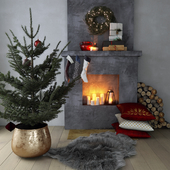 Fireplace with Christmas decor
