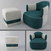 Larzia Chair with Pouf 414 Ottomans