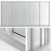 Panoramic window in the floor with radiator