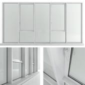 Panoramic window with transom and radiator