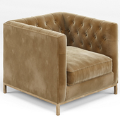 Tarrington Fawn Mohair Tufted Cube Armchair
