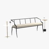 arteriors lexi bench, harper, fitz accent table