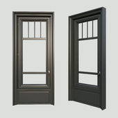 A window in the classical style. The material is dark wood.