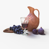 Ceramic jug and fruit
