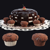Шоколадный торт и кексы