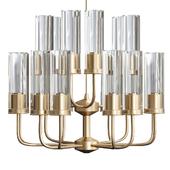Brass & Blue Glass Tube Chandelier by Hans Agne Jakobsson