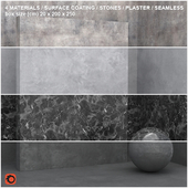 4 materials (seamless) - stone, plaster - set 9