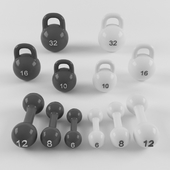 A set of weights and a dumbbell