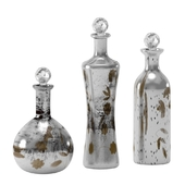 3 Piece Etched Lidded Bottle Set