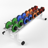 Rack with collapsible dumbbells