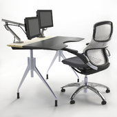 Working table with Knoll chair, monitors.