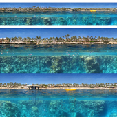Panorama of the shore and the underwater world