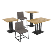 A set of tables and chairs for a cafe