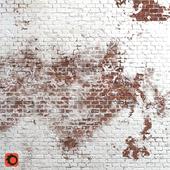 Brick wall with shabby paint