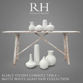 RH Alasace Studio Console Table + Vase Collection