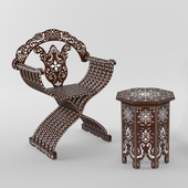chair and coffee table, oriental, oriental
