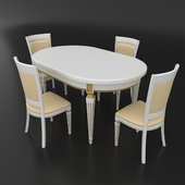 Table set of classic Italian design, consisting of a table and chairs Nike Avorio