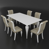 Table set of classic Italian design, consisting of table and chairs Betamobili ottocento italiano