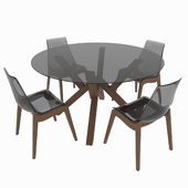 A table set of classic Italian design, consisting of a table and chairs Calligaris Mikado