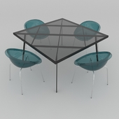 Table set of Italian design, consisting of a table Calligaris Frame and chairs Calligaris Bloom