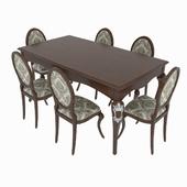 Table set of classical Italian design, consisting of table and chairs Giorgio Casa- Memorie Venezia