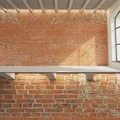 Brick wall (old red brick)