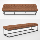 """78 """"TUFTED LEATHER & METAL BENCH"""