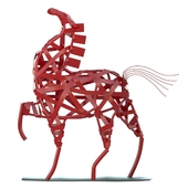 Red horse statuette
