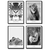 Черно-белые постеры с животными (тигр, лев, слон, зебра).