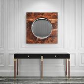 Консоль Benoit, зеркало Holywood Convex Mirror - Hudson