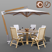 Set of garden furniture Brafab with a Garden Way umbrella