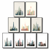 Posters with a line of horizon of the largest cities of the world.