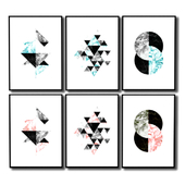 Graphic posters with circles and triangles.