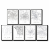 Posters with black and white maps of the largest cities in the world.