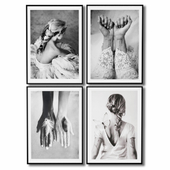 Black and white posters about love and suffering.