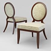 OM Chair with medallion back FratelliBarri MODENA in the finish of mahogany veneer (Mahogany C), fabric Moki-05, FB.CH.MD.14