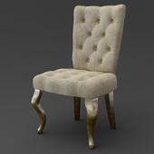 OM Chair on bent legs FratelliBarri VENEZIA in decoration silver leaf, varnished champagne, fabric beige velor (R6012A-53), FB.CH.VZ.63