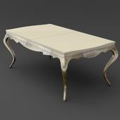 OM Dining table sliding on bent legs FratelliBarri VENEZIA in finishing pearl cream varnish, silver leaf, varnished champagne, FB.DT.VZ.22