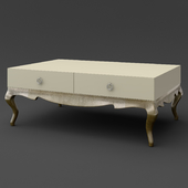 OM Coffee table on curved legs FratelliBarri VENEZIA in finishing pearl cream, silver leaf, varnished champagne, FB.ET.VZ.51