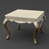 OM Side table on bent legs FratelliBarri VENEZIA in decoration pearl creamy varnish, silver leaf, varnished champagne, FB.ET.VZ.61