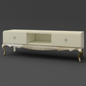 OM Tumba under TV on curved legs FratelliBarri VENEZIA in decoration pearl cream, silver leaf, champagne lacquered, FB.TV.VZ.50