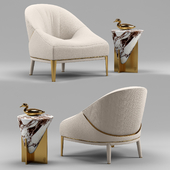Minstrel small table and Rosemary leather armchair - Visionnaire Home Philosophy